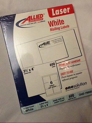 "New/Box 600 WHITE MAILING LABELS 3 1/3"" X 4"" 100 SHEETS (AVERY 5164) LASER"