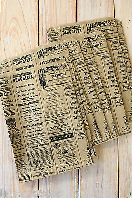 50pc Vintage Newsprint Kraft Paper Bags small DIY craft wedding party gift wrap