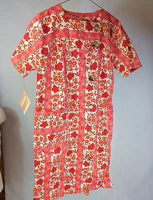 NOS Vintage 60s 70s Charmode Womens Robe Dress Brady Bunch Style Sears Flower 10