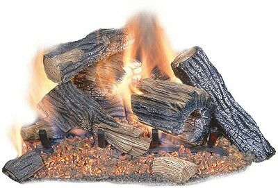 New 18 In. Vented Dual Burner Natural Gas Chimney Fireplace Logs Log Insert Set