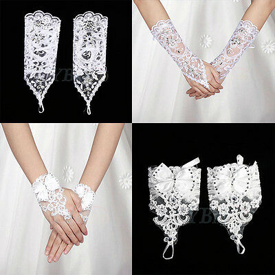 Bride Bridal White Ivory Fingerless Long Short Lace Gloves Part Wedding Costume