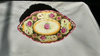 Antique Handpainted Celery / Pickle Dish Featuring Pink Roses