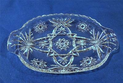 Anchor Hocking EAPC or PRESCUT Crystal Clear 2-Pt Handled Relish Dish EXC