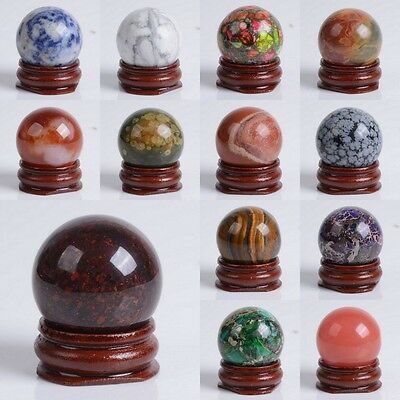 """30mm Gemstone rock crystal  sphere with stand 1.2"""""""