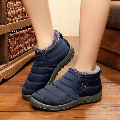 New Women's Ankle Snow Boots Winter Warm Fabric Fur-lined Slip On Shoes US6-8