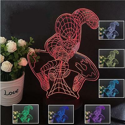 Colorful Changing LED Night Light Lamp Home Desk Decor Visual Lamp Spiderman AC