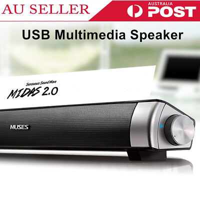 USB Multimedia Audio Stereo Sound Bar Soundbar Subwoofer Speaker + Free Gift