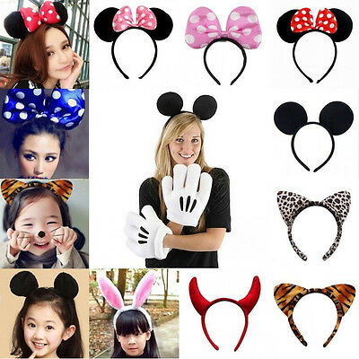Minnie Mouse Ears Bow Headband Hen Nights Hair Womens Girls Mickey Party Dress