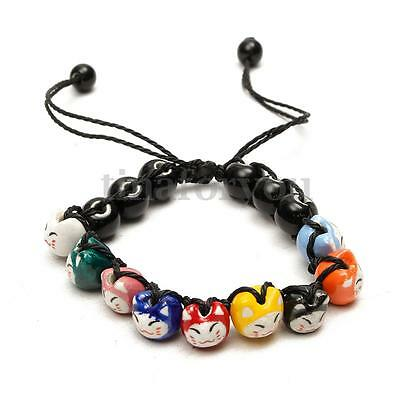 Adjustable Ceramic Cat Beads Charm Lucky Bracelets For Fortune Money Health