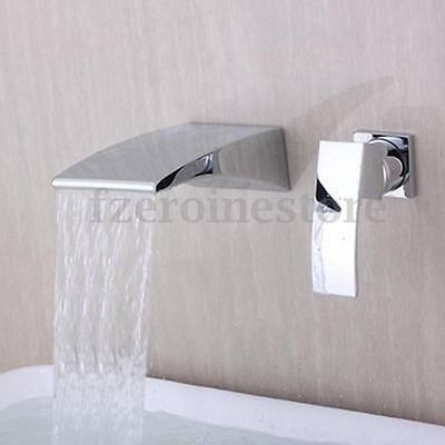Chrome Sink Bathroom Faucet  Waterfall Wall Mount Single Lever Basin Mixer Tap