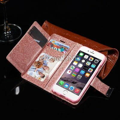 Luxury PU Leather Magnetic Flip Stand Bling Wallet Cover Case For iPhone 7 plus