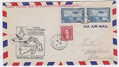 Canada-1939 First airmail flight cover Montreal to Botwood, Newfoundland