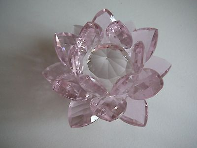 Pretty pink crystal flower ornament decoration paper weight table centrepiece