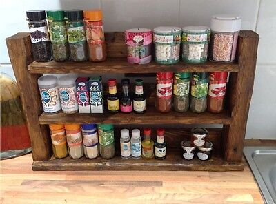 Hand Made Wooden Rustic Spice Rack house warming wedding kitchen Christmas gift