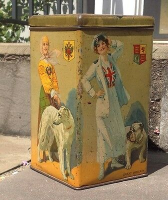 VTG Biscuit Tin - National Flags/Crests, Ladies Dresses & Dogs of 5 WWI Allies
