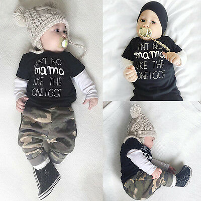 Baby Jungen Camouflage Langarm Top T Shirt Hose Set Outfits Baumwolle Kleidung