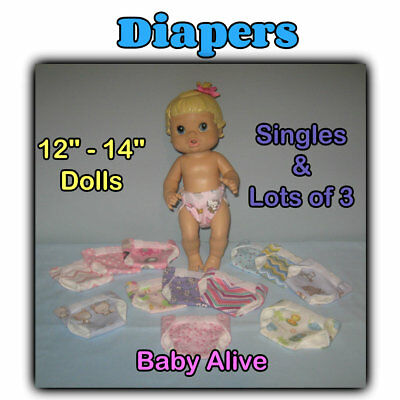 """DIAPERS 12-14"""" Baby Doll 9-10"""" Waist LOTS 1 or 3 Handmade by the Crafty Grandmas"""
