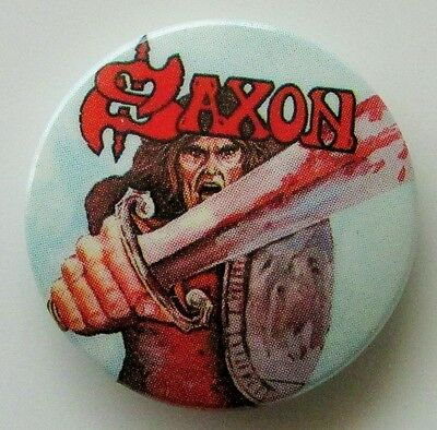 SAXON 1st ALBUM OLD METAL BUTTON BADGE FROM THE 1980's BIFF BYFORD NWOBHM RETRO