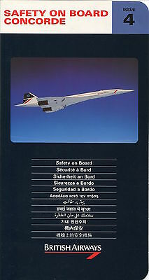 British Airways Concorde Safety Card Issue 4 1992