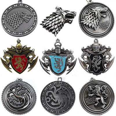 Game of Thrones All House Metal Keying Keychain Necklace Backpack Pendant