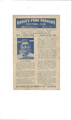 Queens Park Rangers v Ipswich Town FA Cup Football Programme 1945/46