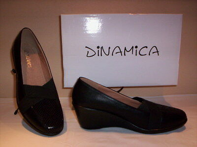 Dinamica classic shoes court loafers casual woman wedge black 37