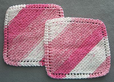 New TWO 100% Cotton Dishcloths Handmade Hand Knit Pink White Striped F