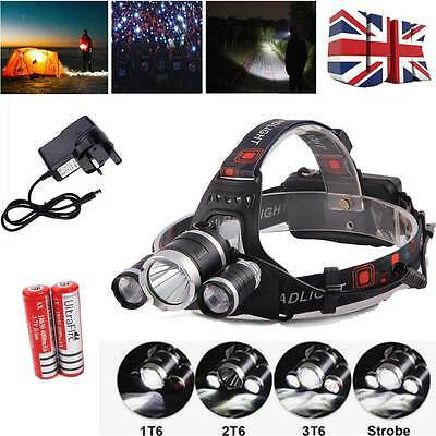 12000Lm 3 Cree XM-L T6 LED Headlight Torch Rechargeable Headlamp Head Light Lamp