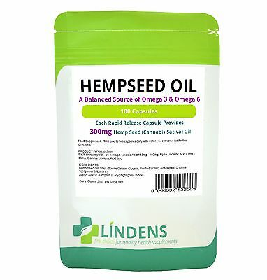 Hemp Oil 300mg Capsule (100 pack) Omega 3 & 6 in perfect balance, Seed oil