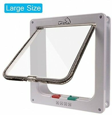 Cat Flap Lifepul(TM) 4 Ways Locking Cat Door (Large Size 9.8 X 9.0 ), Pet Door