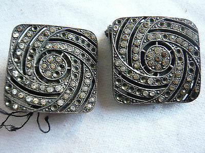 pair of square antique metal shoe buckles with diamante decoration