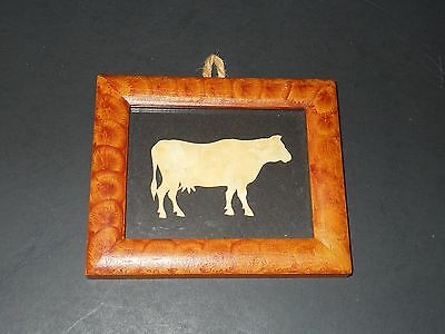"""COW FRAMED PICTURE FARM animal wall S Plaque Modern Farmhouse Brown Black 4.5"""""""
