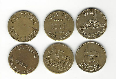7. Lot Of 6 Different Parking / Park & Shop Tokens / California & Oregon