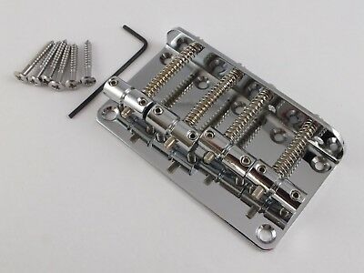 CHROME BASS GUITAR BRIDGE for 4 String Precision & Jazz Bass style bass guitars