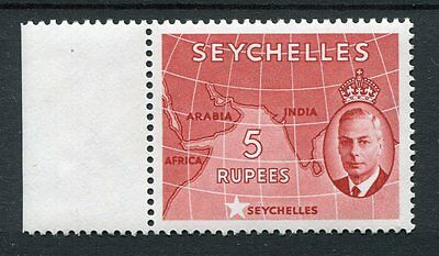 Seychelles KGVI 1952 5r red SG171 MNH side margin piece