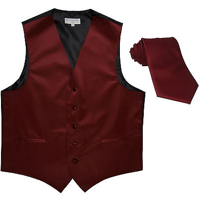 New Polyester formal Men's Tuxedo Vest Waistcoat & tie solid Burgundy Prom