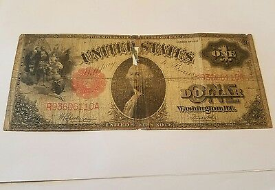 Large 1917 $1 One Dollar Bill Red Seal Note Good Condition
