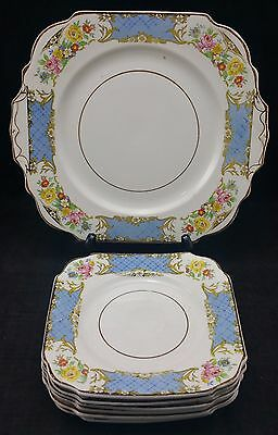 Vintage Sandwich Plate & Set of 6 Matching Side Plates, Burgess Ware, England