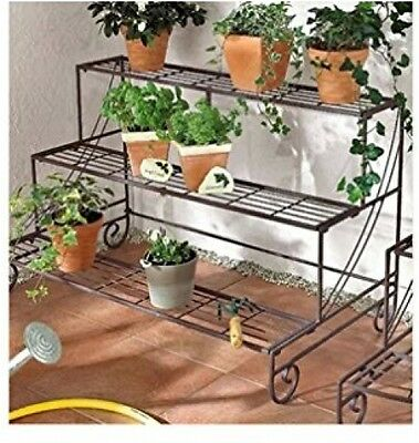 3 Tier Decorative Plant Stand Planter Holder Multi Planter Flower Pot Rack Shelf