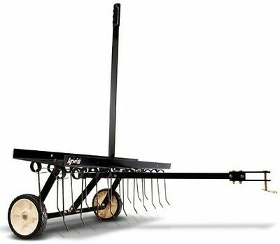 Penetrates Agri-Fab 40-Inch Tine Tow Dethatcher hard-packed dirt for planting