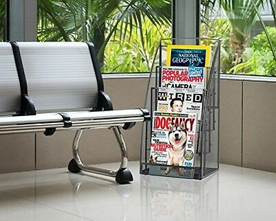 4 Tiers Magazine Compartment Literature Organizers Catalog Rack Stand Displays