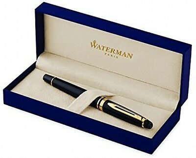 NEW WATERMAN Expert Rollerball Pen,Fine Point,Black Lacquer w Gold Trim,S0951680