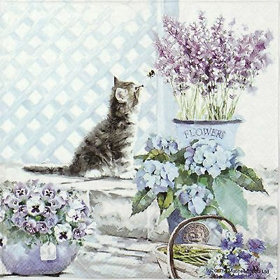 4 Single Lunch Table Party Paper Napkins for Decoupage Decopatch Craft Kitten