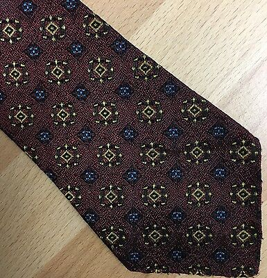 Vintage Tie Retro 1950s Swing Lindyhop Red Gold Blue Pattern Excellent Condition