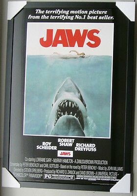 """JAWS framed POSTER Ready to Hang LICENSED """"BRAND NEW"""" GIANT GREAT WHITE SHARK"""