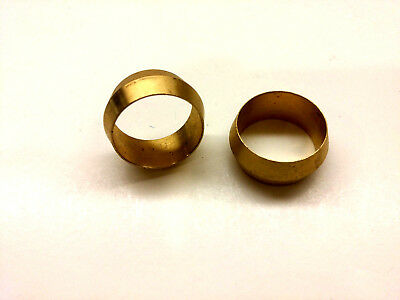 "Ф5/8"" ID Brass Olive Barrel Compression Sleeve Ferrule Ring NPT Soft Copper 2pcs"