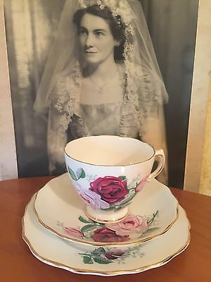 ANTIQUE VINTAGE TRIO CUP SAUCER PLATE AFTERNOON HIGH TEA ROYAL VALE  Pink Roses