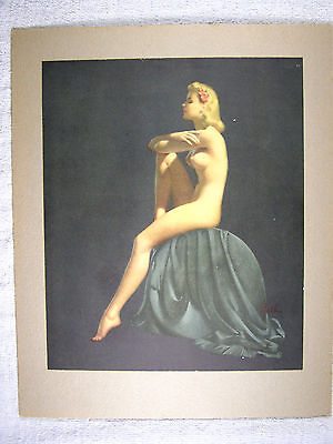 Large Vintage Al Buell Pin-up Art - SITTING BLONDE NUDE WITH FLOWER IN HAIR