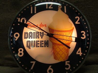 Vintage Dairy Queen Ice Cream Lighted Clock Sign   Antique New Face 7201