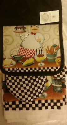 5 pc FAT CHEF KITCHEN SET: 2 POT HOLDERS, 2 TOWELS & 1 OVEN MITT by SL